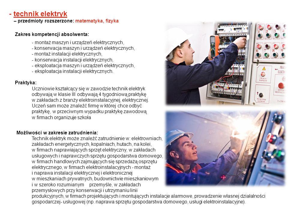 - technik elektryk – przedmioty rozszerzone: matematyka, fizyka Zakres kompetencji absolwenta: - montaż maszyn i urządzeń elektrycznych, - konserwacja