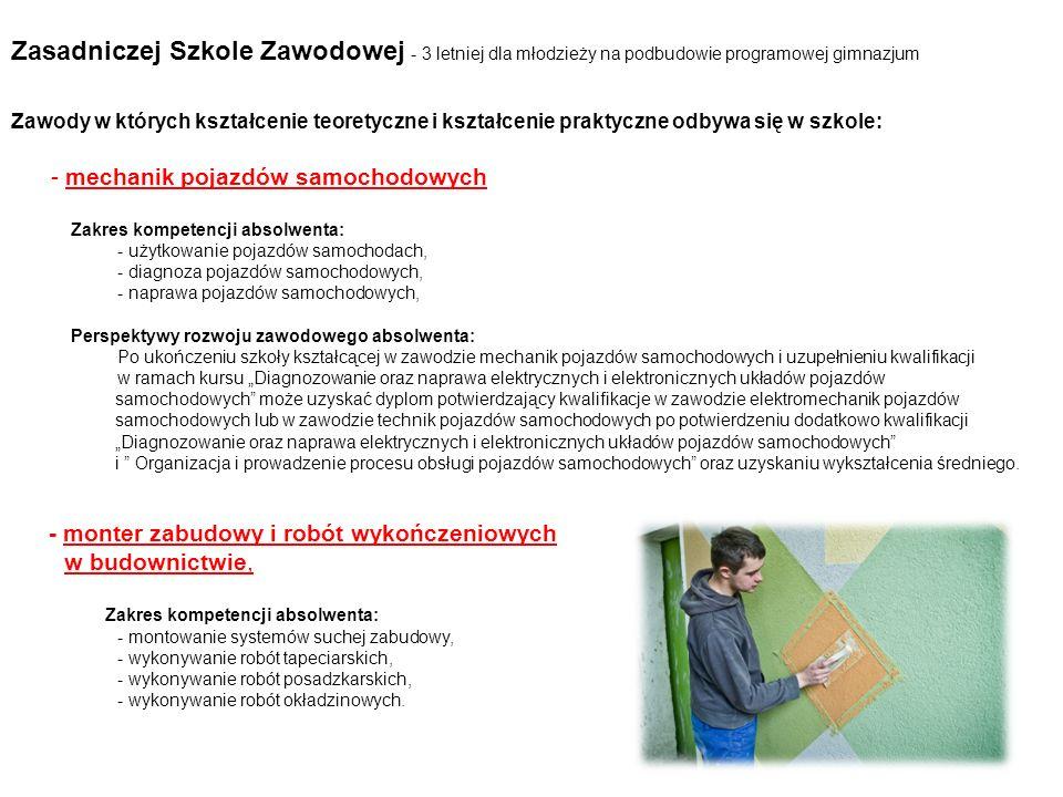 Zasadniczej Szkole Zawodowej - 3 letniej dla młodzieży na podbudowie programowej gimnazjum Zawody w których kształcenie teoretyczne i kształcenie prak