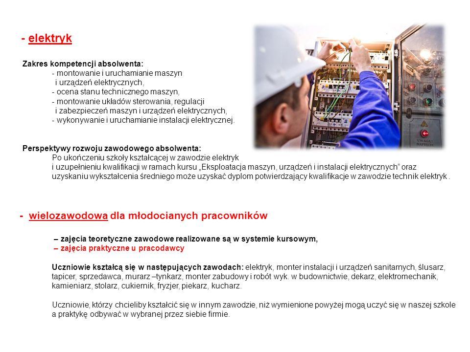 - elektryk Zakres kompetencji absolwenta: - montowanie i uruchamianie maszyn i urządzeń elektrycznych, - ocena stanu technicznego maszyn, - montowanie