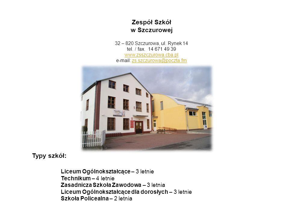 Zespół Szkół w Szczurowej 32 – 820 Szczurowa, ul. Rynek 14 tel. / fax. 14 671 49 39 www.zsszczurowa.cba.pl e-mail: zs.szczurowa@poczta.fmzs.szczurowa@