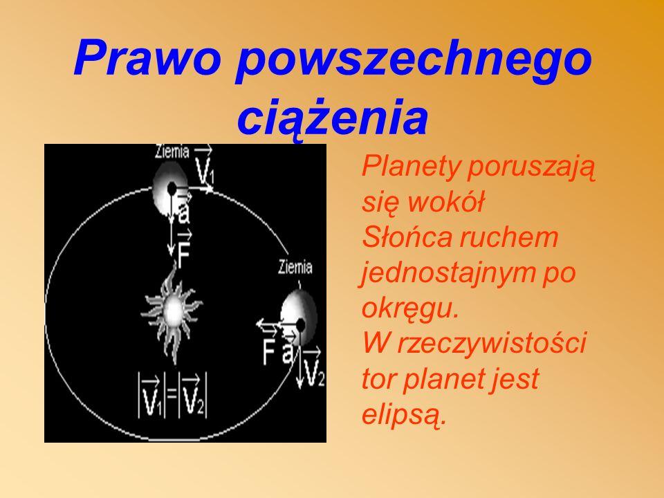 Prawo powszechnego ciążenia Planety poruszają się wokół Słońca ruchem jednostajnym po okręgu.
