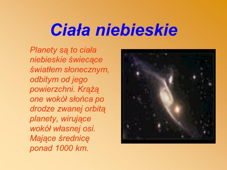 Ciała niebieskie Planety są to ciała niebieskie świecące światłem słonecznym, odbitym od jego powierzchni.