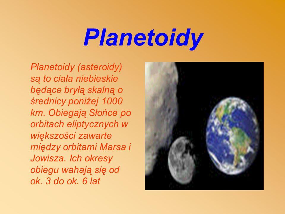 Planetoidy Planetoidy (asteroidy) są to ciała niebieskie będące bryłą skalną o średnicy poniżej 1000 km.