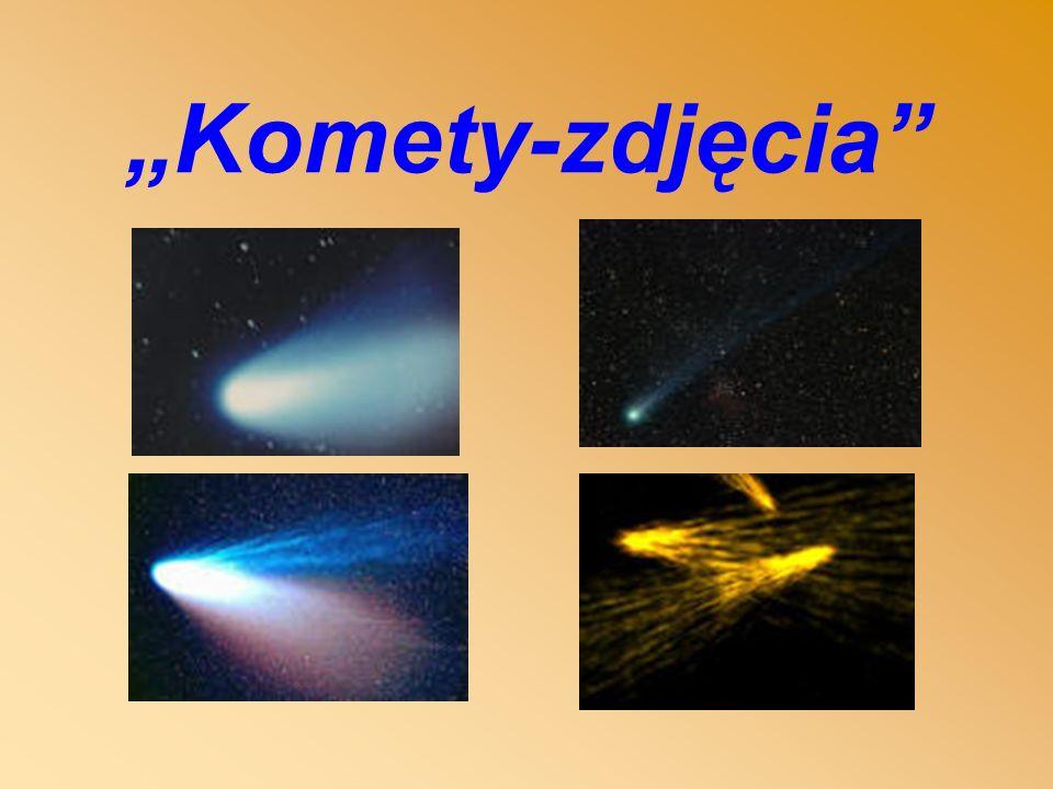 Komety Komety są to ciała niebieskie poruszające się w Układzie Planetarnym po orbitach. Mają znacznie mniejsze masy od mas planet i odmiennej budowie