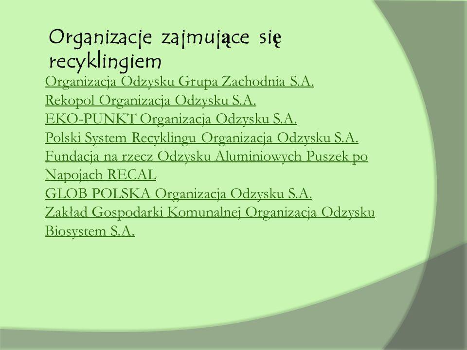 Organizacja Odzysku Grupa Zachodnia S.A. Rekopol Organizacja Odzysku S.A. EKO-PUNKT Organizacja Odzysku S.A. Polski System Recyklingu Organizacja Odzy