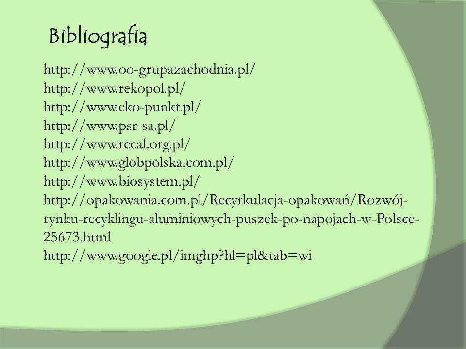 Bibliografia http://www.oo-grupazachodnia.pl/ http://www.rekopol.pl/ http://www.eko-punkt.pl/ http://www.psr-sa.pl/ http://www.recal.org.pl/ http://www.globpolska.com.pl/ http://www.biosystem.pl/ http://opakowania.com.pl/Recyrkulacja-opakowań/Rozwój- rynku-recyklingu-aluminiowych-puszek-po-napojach-w-Polsce- 25673.html http://www.google.pl/imghp?hl=pl&tab=wi