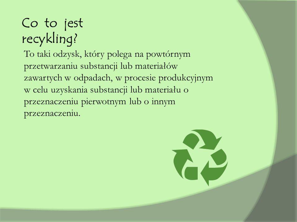 Co to jest recykling? To taki odzysk, który polega na powtórnym przetwarzaniu substancji lub materiałów zawartych w odpadach, w procesie produkcyjnym