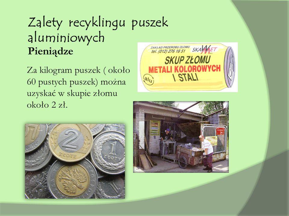 Zalety recyklingu puszek aluminiowych Pieniądze Za kilogram puszek ( około 60 pustych puszek) można uzyskać w skupie złomu około 2 zł.