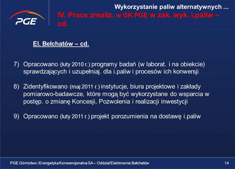 El.Bełchatów – cd. 7)Opracowano (luty 2010 r.) programy badań (w laborat.