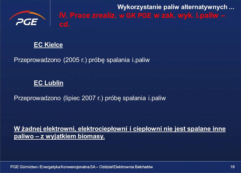 EC Kielce Przeprowadzono (2005 r.) próbę spalania i.paliw EC Lublin Przeprowadzono (lipiec 2007 r.) próbę spalania i.paliw W żadnej elektrowni, elektrociepłowni i ciepłowni nie jest spalane inne paliwo – z wyjątkiem biomasy.
