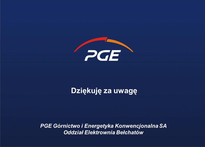 PGE Górnictwo i Energetyka Konwencjonalna SA Oddział Elektrownia Bełchatów Dziękuję za uwagę