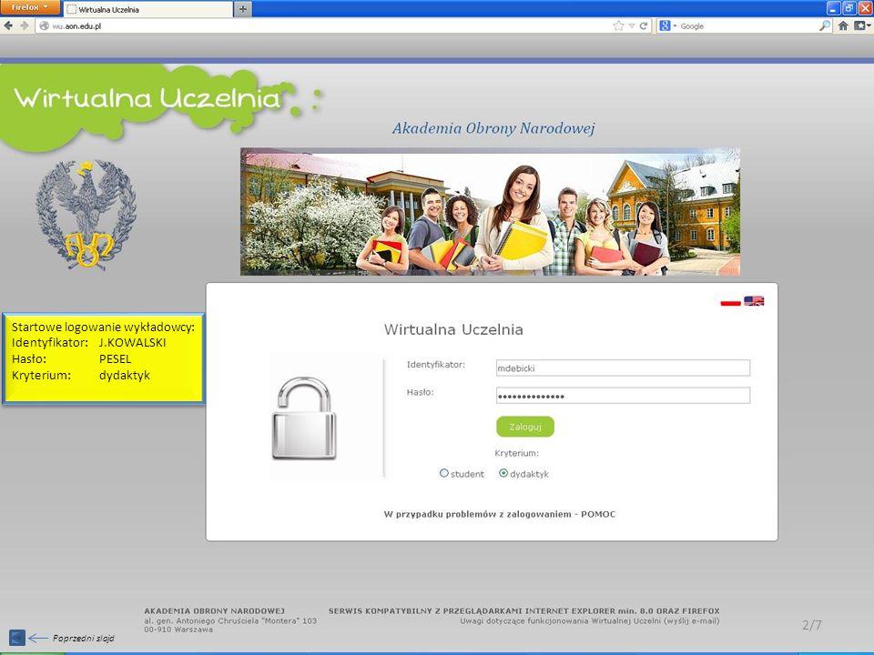 Wykładowca uzupełnia sylabusy w menu po lewej stronie, zakładka: Umieszczanie sylabusów 3/7
