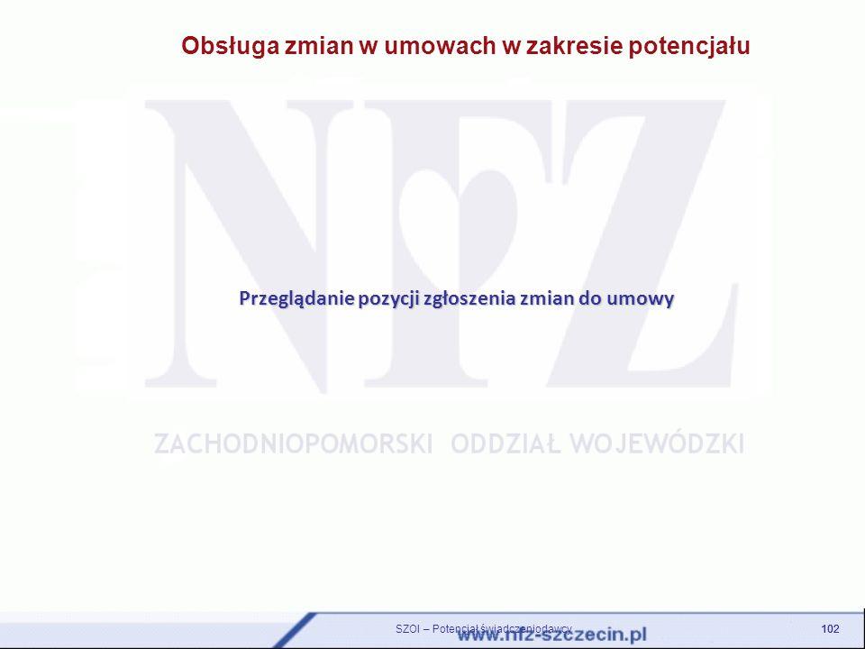 Obsługa zmian w umowach w zakresie potencjału Przeglądanie pozycji zgłoszenia zmian do umowy 102 SZOI – Potencjał świadczeniodawcy