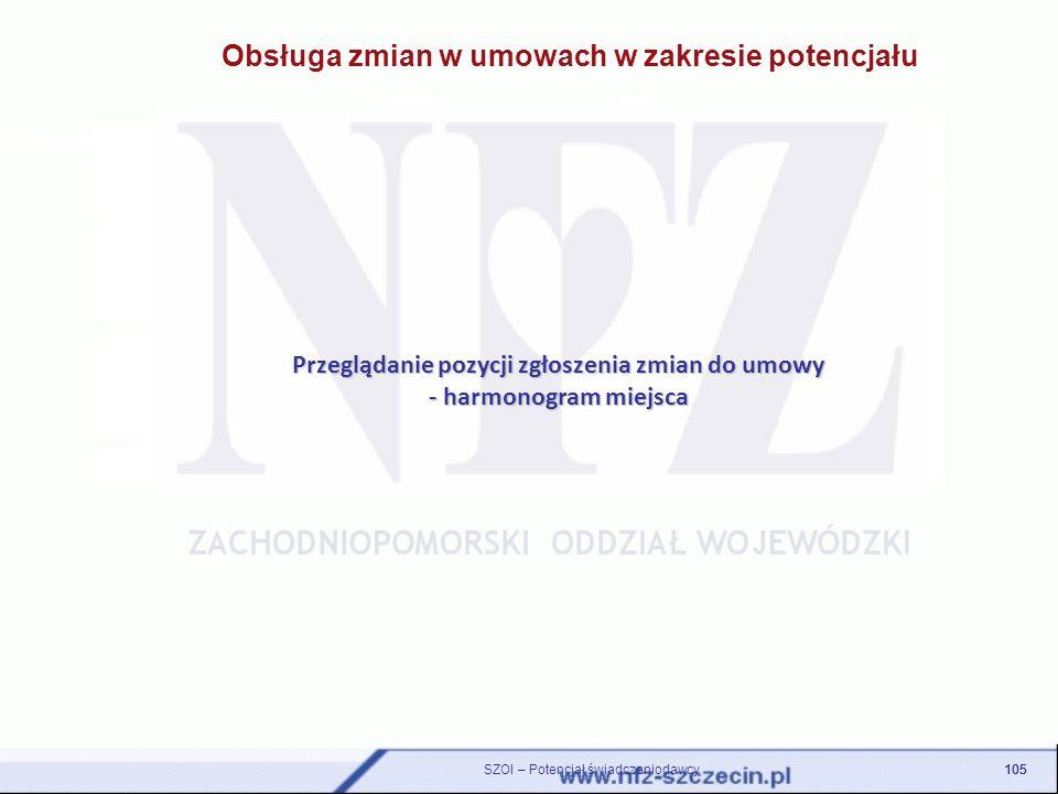Przeglądanie pozycji zgłoszenia zmian do umowy - harmonogram miejsca 105 SZOI – Potencjał świadczeniodawcy