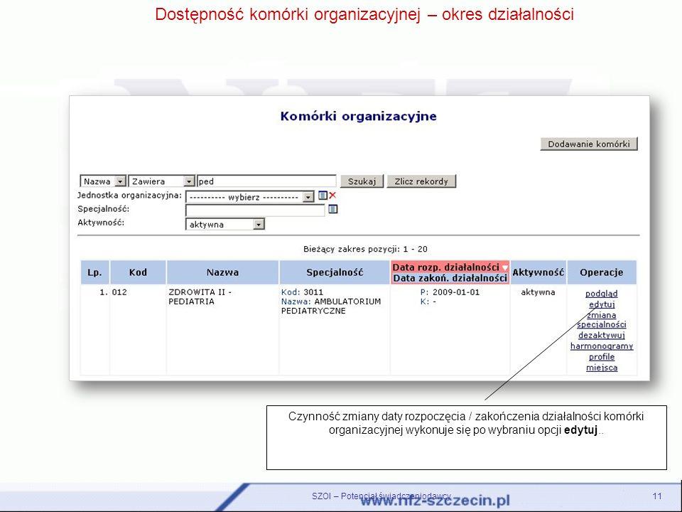 Dostępność komórki organizacyjnej – okres działalności Czynność zmiany daty rozpoczęcia / zakończenia działalności komórki organizacyjnej wykonuje się