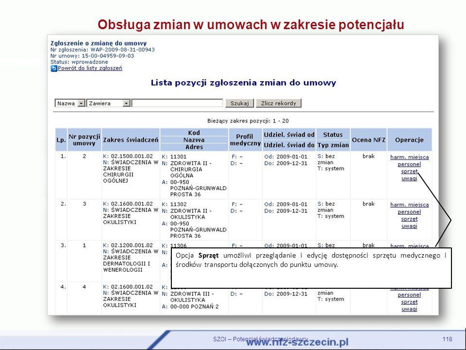 118SZOI – Potencjał świadczeniodawcy Opcja Sprzęt umożliwi przeglądanie i edycję dostępności sprzętu medycznego i środków transportu dołączonych do pu