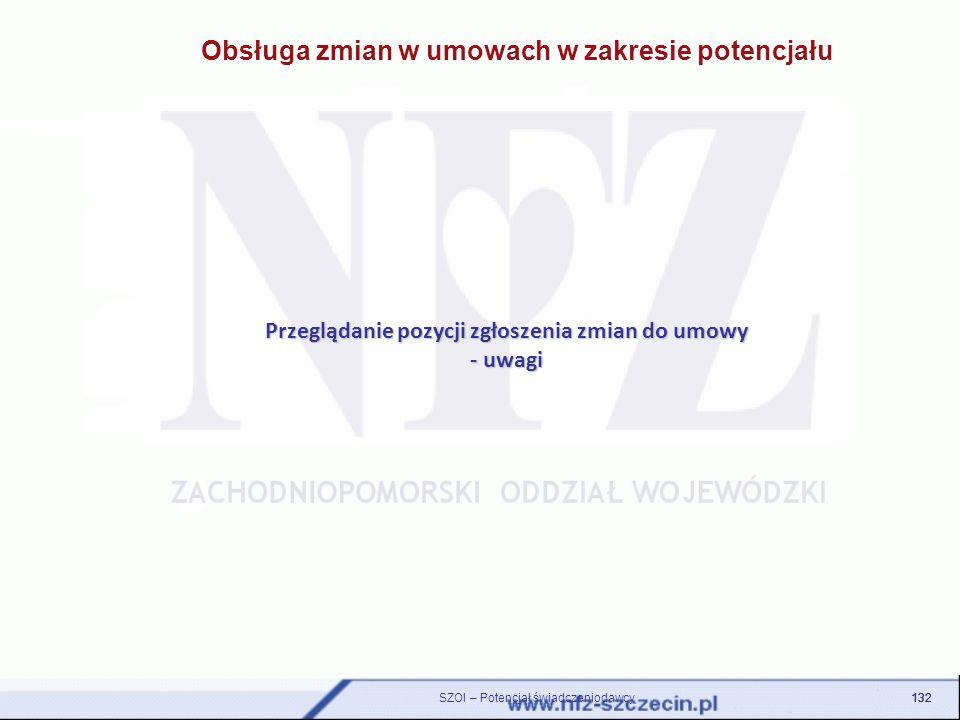 Przeglądanie pozycji zgłoszenia zmian do umowy - uwagi 132 SZOI – Potencjał świadczeniodawcy
