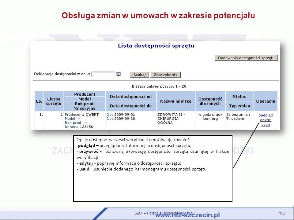 150SZOI – Potencjał świadczeniodawcy Obsługa zmian w umowach w zakresie potencjału Opcje dostępne w części weryfikacji umożliwiają również: -podgląd –