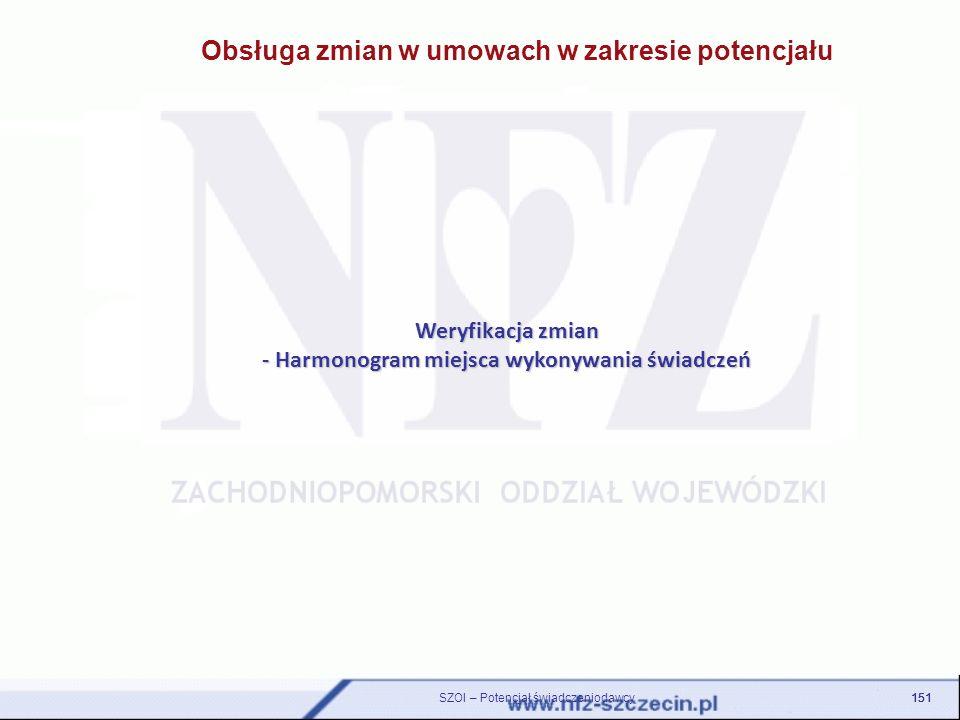 Obsługa zmian w umowach w zakresie potencjału Weryfikacja zmian - Harmonogram miejsca wykonywania świadczeń 151 SZOI – Potencjał świadczeniodawcy