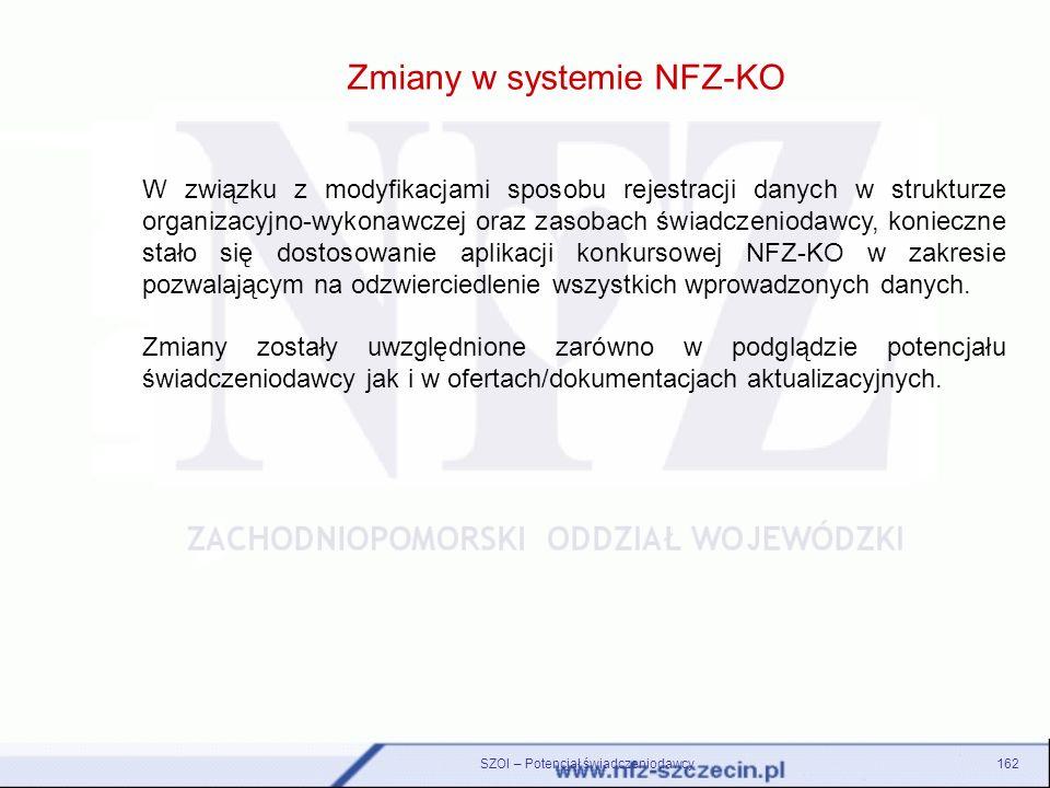 Zmiany w systemie NFZ-KO SZOI – Potencjał świadczeniodawcy162 W związku z modyfikacjami sposobu rejestracji danych w strukturze organizacyjno-wykonawc
