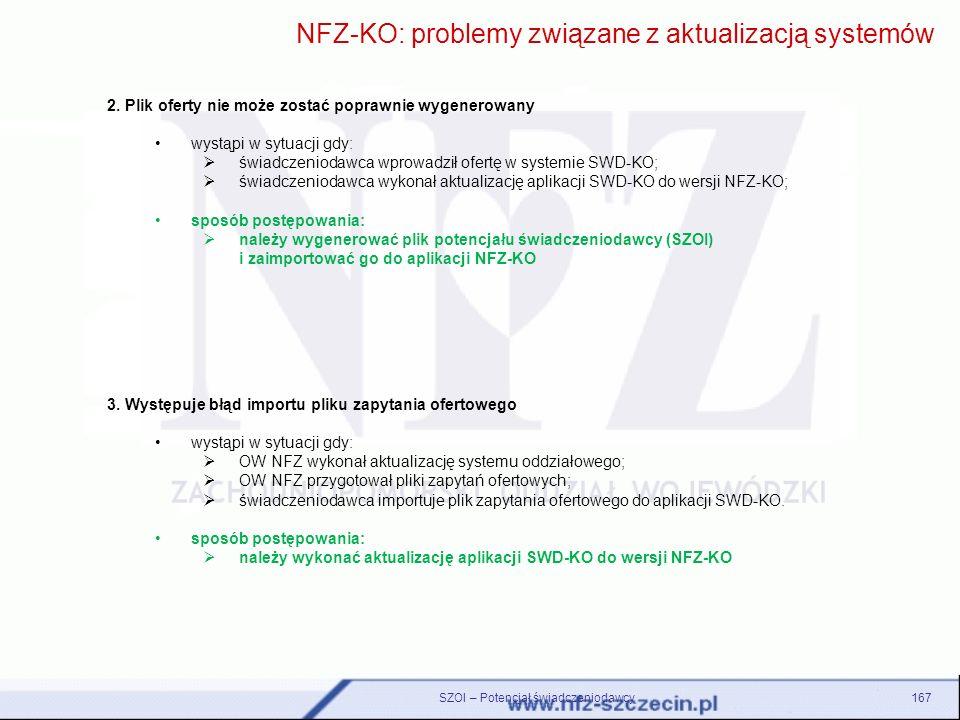 3. Występuje błąd importu pliku zapytania ofertowego wystąpi w sytuacji gdy: OW NFZ wykonał aktualizację systemu oddziałowego; OW NFZ przygotował plik