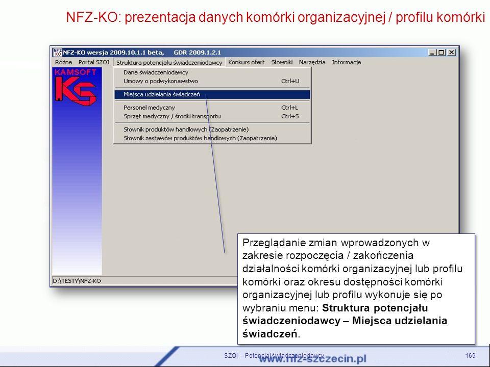 SZOI – Potencjał świadczeniodawcy169 NFZ-KO: prezentacja danych komórki organizacyjnej / profilu komórki Przeglądanie zmian wprowadzonych w zakresie r
