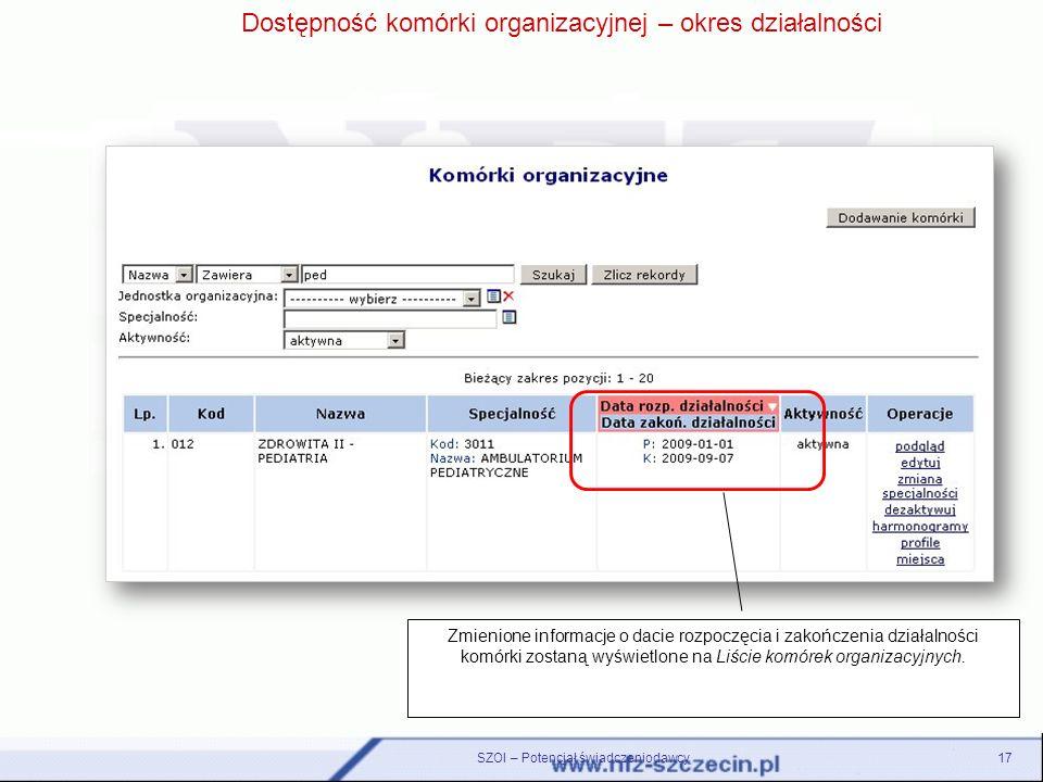 Dostępność komórki organizacyjnej – okres działalności Zmienione informacje o dacie rozpoczęcia i zakończenia działalności komórki zostaną wyświetlone