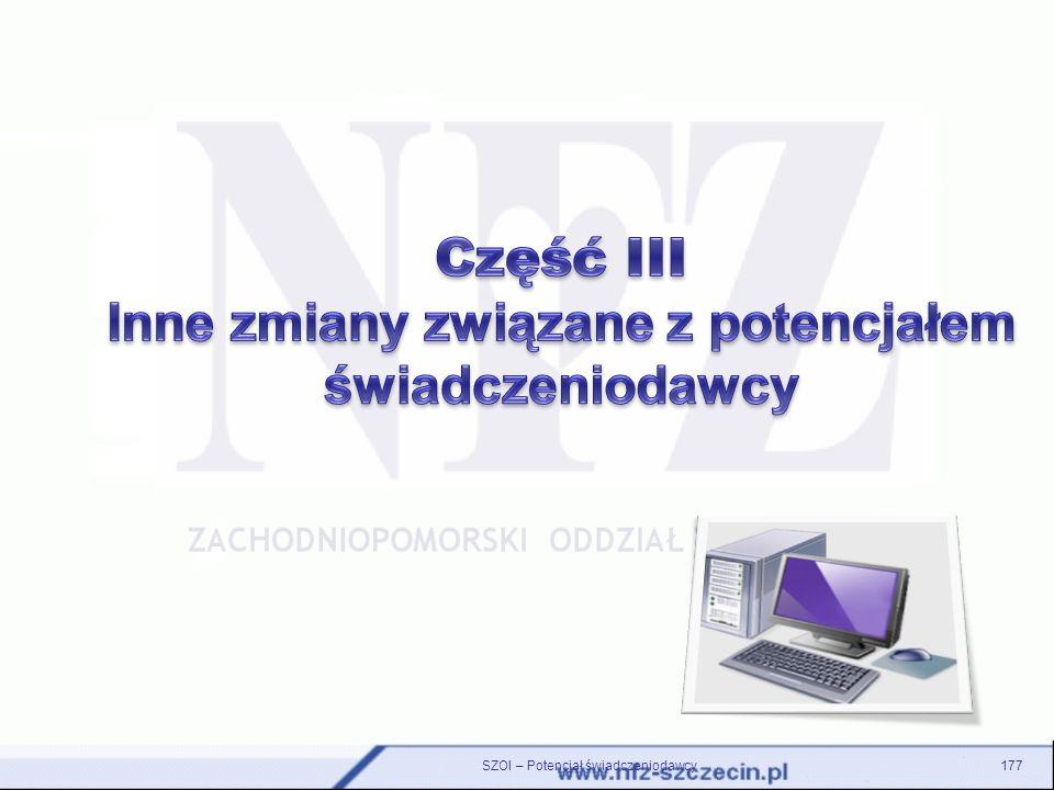 SZOI – Potencjał świadczeniodawcy177