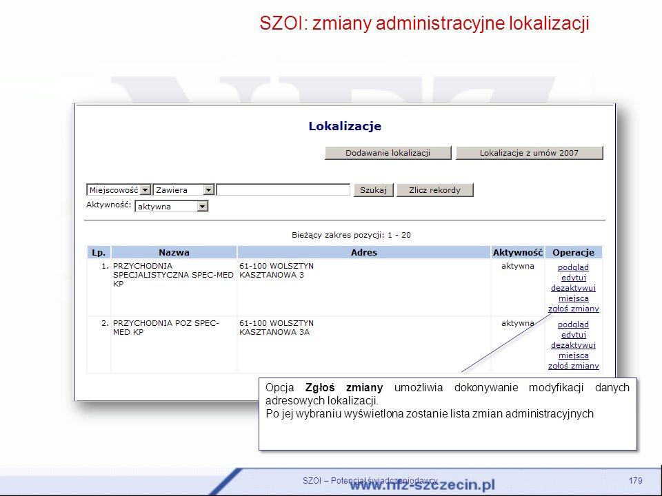 SZOI – Potencjał świadczeniodawcy179 SZOI: zmiany administracyjne lokalizacji Zmienione dane dotyczące okresu rozpoczęcia i zakończenia działalności p