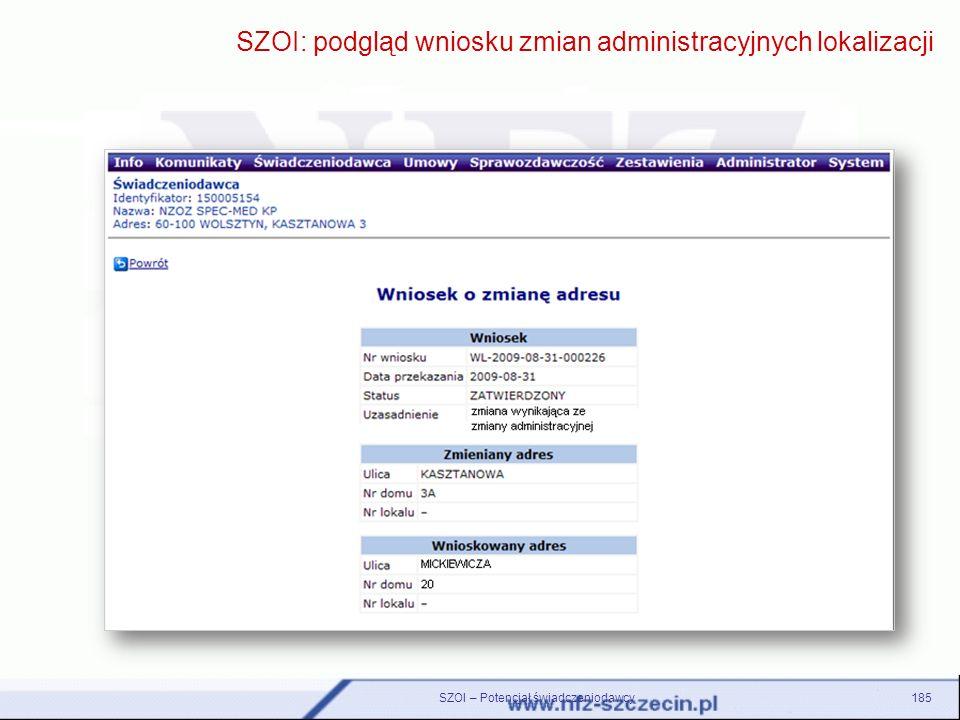 185 SZOI: podgląd wniosku zmian administracyjnych lokalizacji SZOI – Potencjał świadczeniodawcy