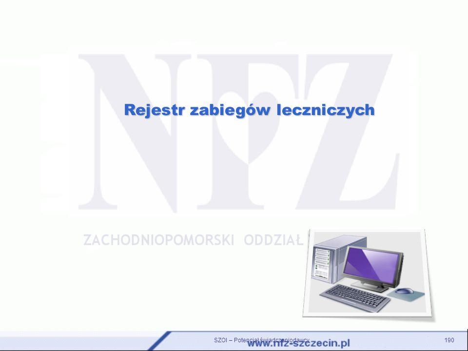 190 Rejestr zabiegów leczniczych