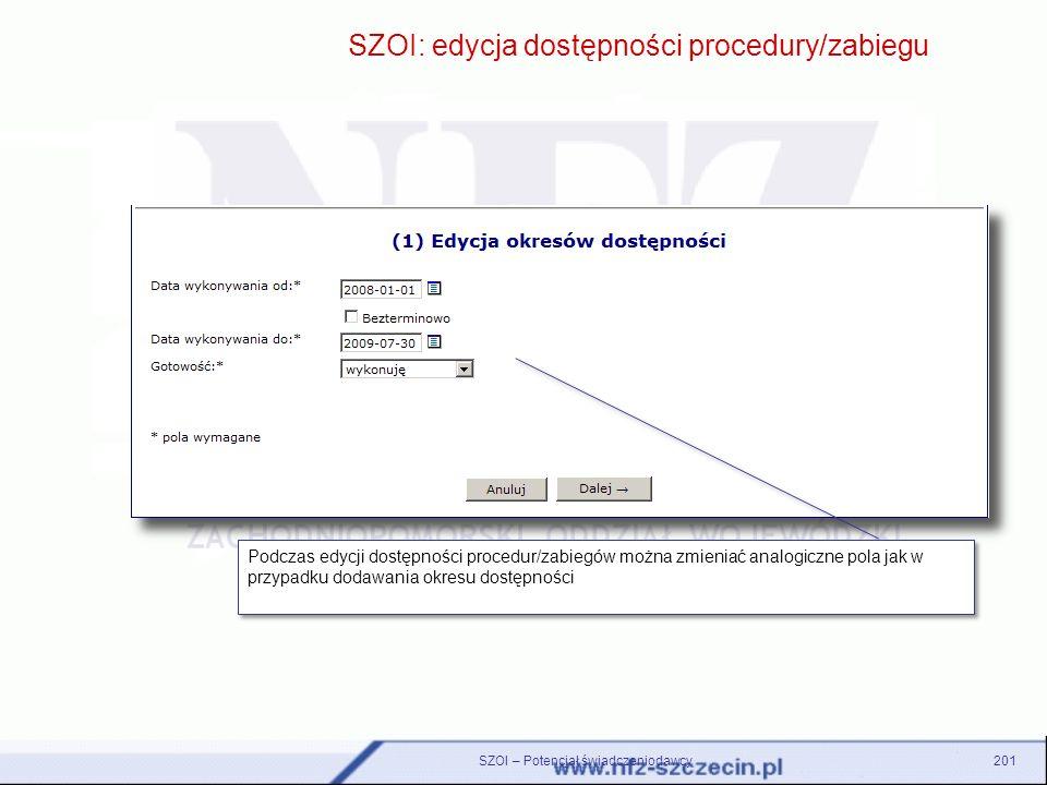 SZOI – Potencjał świadczeniodawcy201 SZOI: edycja dostępności procedury/zabiegu Podczas edycji dostępności procedur/zabiegów można zmieniać analogiczn