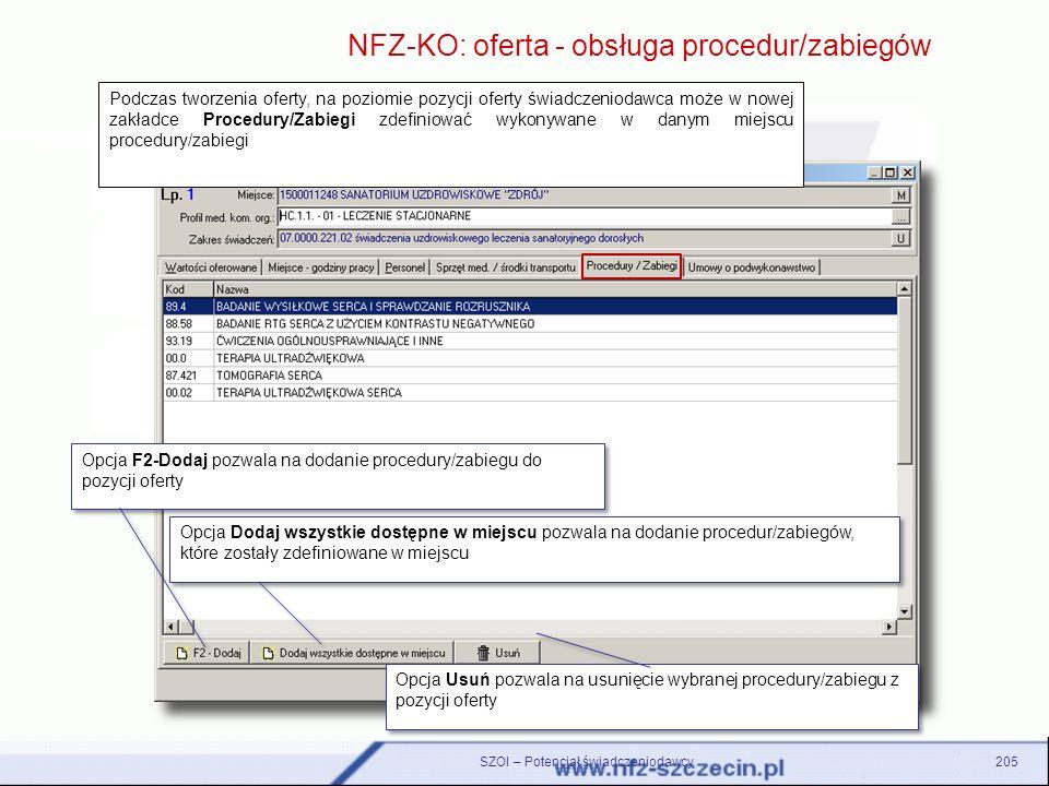 SZOI – Potencjał świadczeniodawcy205 NFZ-KO: oferta - obsługa procedur/zabiegów Opcja F2-Dodaj pozwala na dodanie procedury/zabiegu do pozycji oferty