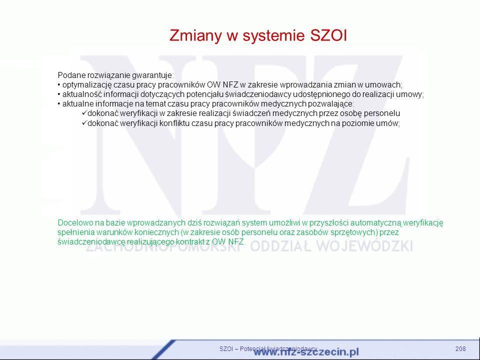 Zmiany w systemie SZOI SZOI – Potencjał świadczeniodawcy208 Podane rozwiązanie gwarantuje: optymalizację czasu pracy pracowników OW NFZ w zakresie wpr
