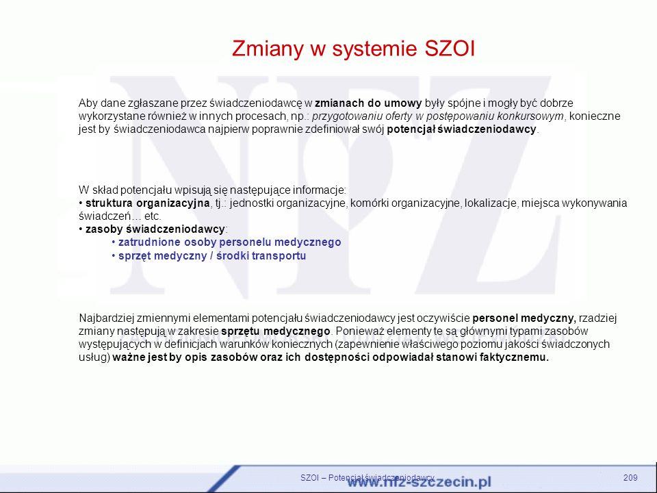 Zmiany w systemie SZOI SZOI – Potencjał świadczeniodawcy209 Aby dane zgłaszane przez świadczeniodawcę w zmianach do umowy były spójne i mogły być dobr