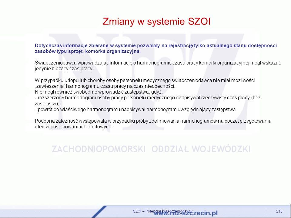 Zmiany w systemie SZOI SZOI – Potencjał świadczeniodawcy210 Dotychczas informacje zbierane w systemie pozwalały na rejestrację tylko aktualnego stanu