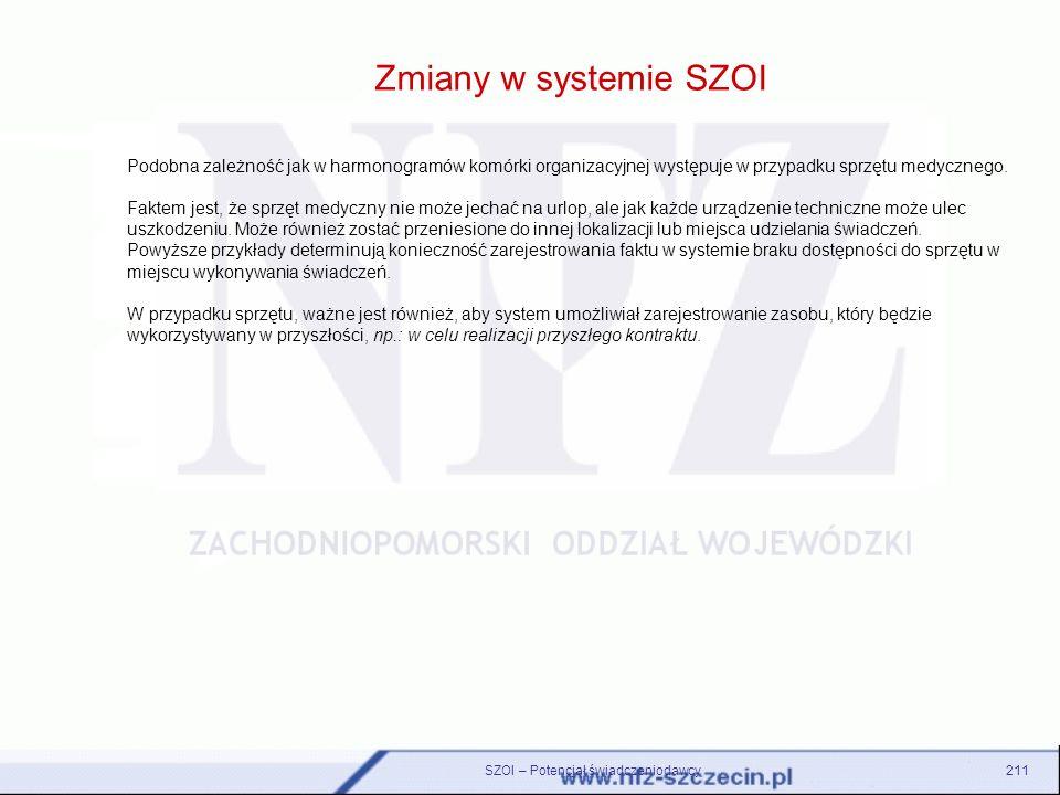 Zmiany w systemie SZOI SZOI – Potencjał świadczeniodawcy211 Podobna zależność jak w harmonogramów komórki organizacyjnej występuje w przypadku sprzętu