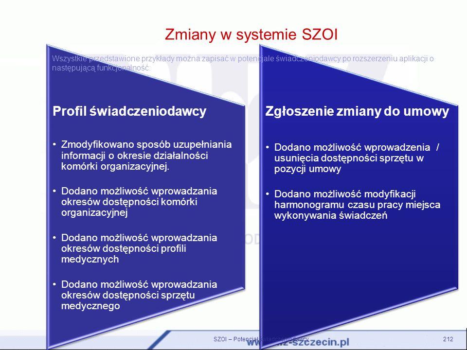 Zmiany w systemie SZOI Profil świadczeniodawcy Zmodyfikowano sposób uzupełniania informacji o okresie działalności komórki organizacyjnej. Dodano możl