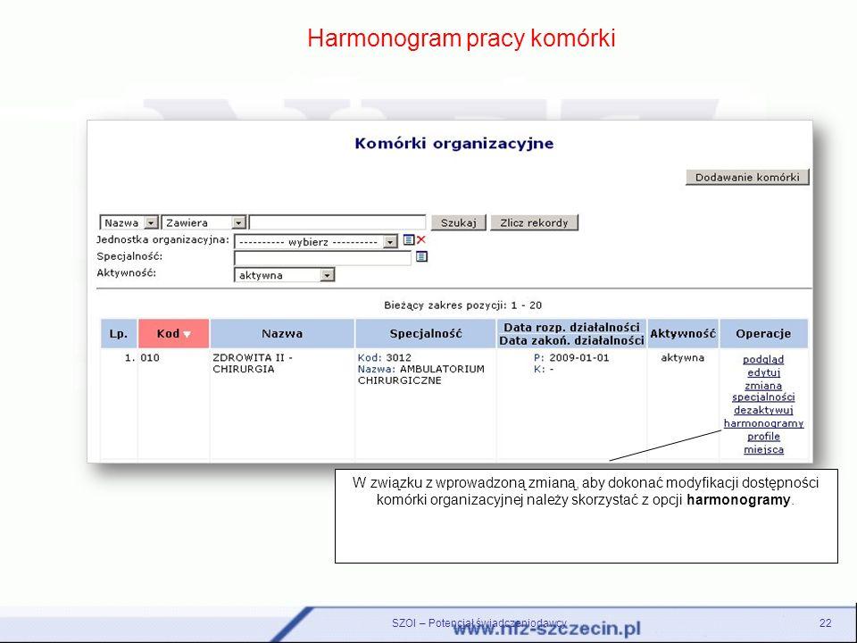 Harmonogram pracy komórki W związku z wprowadzoną zmianą, aby dokonać modyfikacji dostępności komórki organizacyjnej należy skorzystać z opcji harmono
