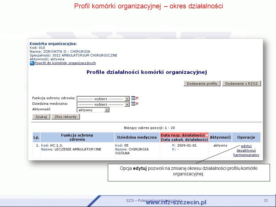 Profil komórki organizacyjnej – okres działalności Opcja edytuj pozwoli na zmianę okresu działalności profilu komórki organizacyjnej. 33SZOI – Potencj