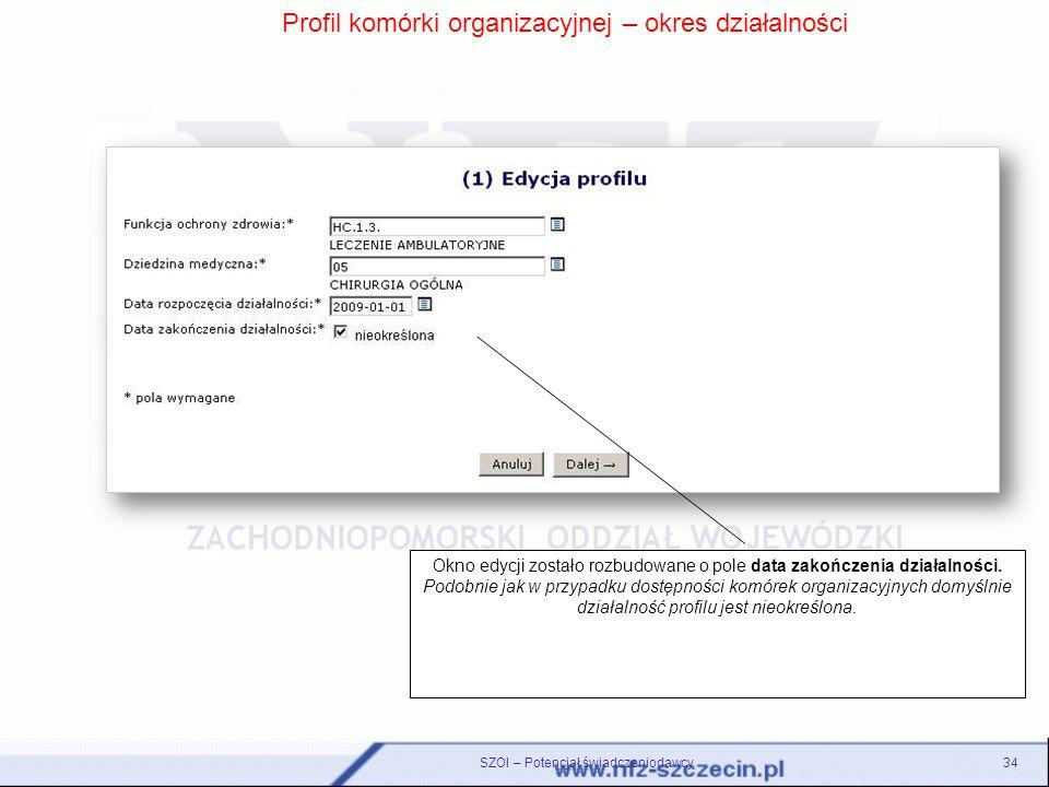 Profil komórki organizacyjnej – okres działalności Okno edycji zostało rozbudowane o pole data zakończenia działalności. Podobnie jak w przypadku dost