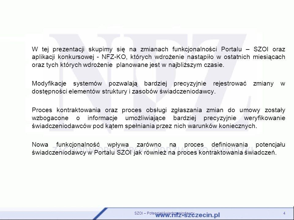 W tej prezentacji skupimy się na zmianach funkcjonalności Portalu – SZOI oraz aplikacji konkursowej - NFZ-KO, których wdrożenie nastąpiło w ostatnich