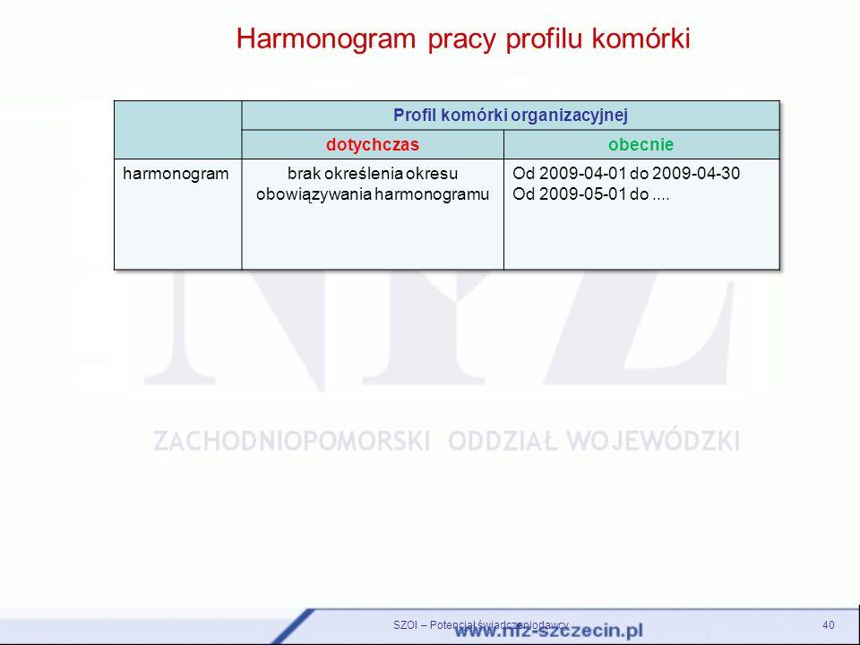 Harmonogram pracy profilu komórki 40SZOI – Potencjał świadczeniodawcy