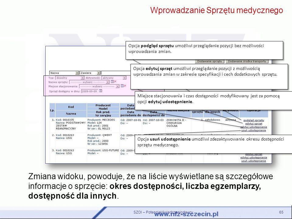 SZOI – Potencjał świadczeniodawcy65 Zmiana widoku, powoduje, że na liście wyświetlane są szczegółowe informacje o sprzęcie: okres dostępności, liczba
