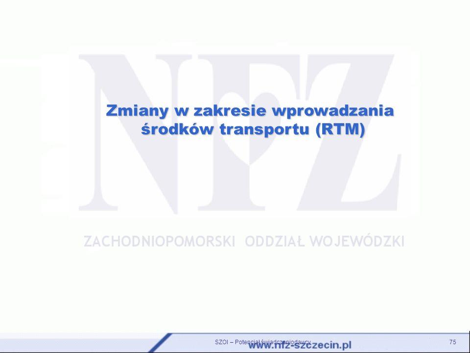 SZOI – Potencjał świadczeniodawcy75 Zmiany w zakresie wprowadzania środków transportu (RTM) środków transportu (RTM)