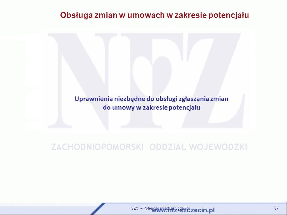 Obsługa zmian w umowach w zakresie potencjału Uprawnienia niezbędne do obsługi zgłaszania zmian do umowy w zakresie potencjału 87 SZOI – Potencjał świ
