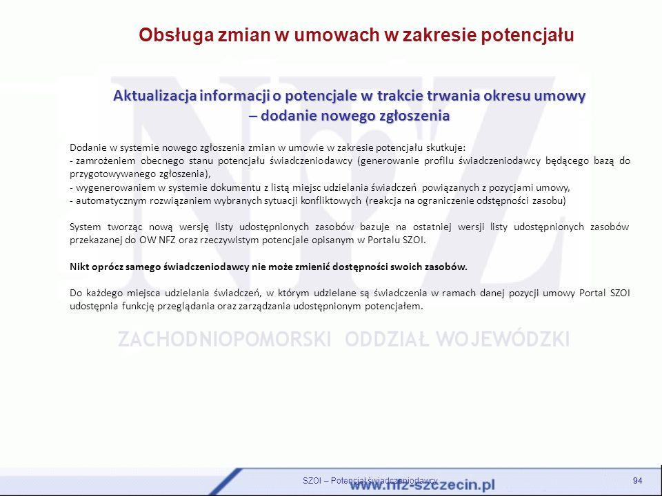 Obsługa zmian w umowach w zakresie potencjału Aktualizacja informacji o potencjale w trakcie trwania okresu umowy – dodanie nowego zgłoszenia Dodanie