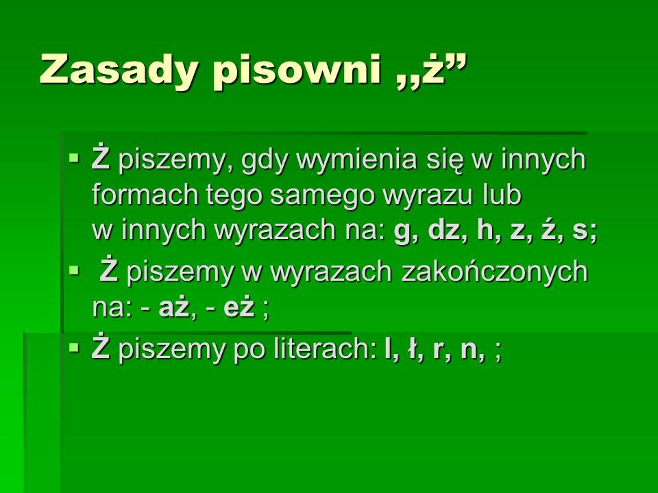 Zasady pisowni,,ż Ż piszemy, gdy wymienia się w innych formach tego samego wyrazu lub w innych wyrazach na: g, dz, h, z, ź, s; Ż piszemy, gdy wymienia