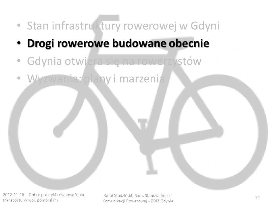 Stan infrastruktury rowerowej w Gdyni Drogi rowerowe budowane obecnie Drogi rowerowe budowane obecnie Gdynia otwiera się na rowerzystów Wyzwania: plany i marzenia 2012-11-16 Dobre praktyki równoważenia transportu w woj.