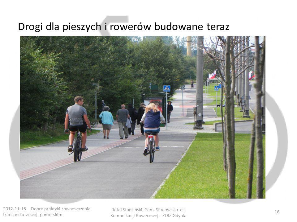 Drogi dla pieszych i rowerów budowane teraz 2012-11-16 Dobre praktyki równoważenia transportu w woj. pomorskim Rafał Studziński, Sam. Stanowisko ds. K
